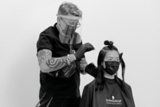 Jack Howard With Back to Classics Model In Salon