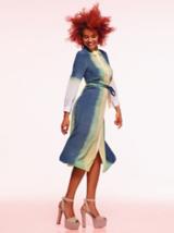 Artful Feeling Model With Dyed Denim Dress
