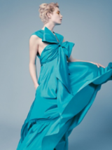 Everyday Decadence Model With Light Blonde Wavy Pixie Cut Wearing Ballgown