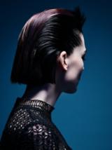 Dark Romance Back Shot of Model With Slicked Back Black Hair