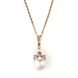 Dark Romance Inspiration Gold and Pearl Spider Necklace