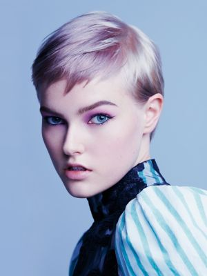 Essential Looks Magical Whimsy Model With Purple Rinse Pixie Cut