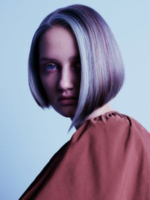 Essential Looks Magical Whimsy Model With Purple and White Blunt Bob