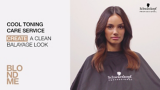 BLONDME Care Balayage Video Model Sat With Dark Brown to Light Brown Ombré Mid-length Hair