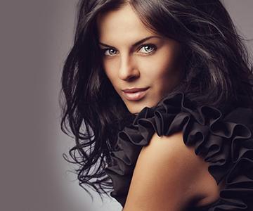 Model with healthy long dark hair