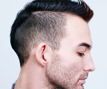 Male model with short hairstyle
