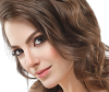 Model with fringe and deep side part, a popular hairstyle trend for women