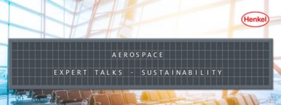 Airport waiting area with departure board showing the name of the article: Aerospace Expert Talks - Sustainability
