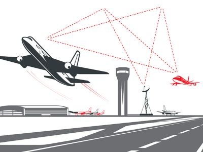 Vector icon of one airplane landing and another taking off with triangulation lines between them and a radar tower representing air traffic management technology illustration in grey, white and red shutterstock ID 1134440792