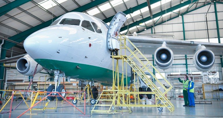 Airplane in hanger during maintenance, repair and overhaul gettyimages ID 152885775