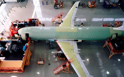 Airplane in hanger during manufacturing, assembly and build
