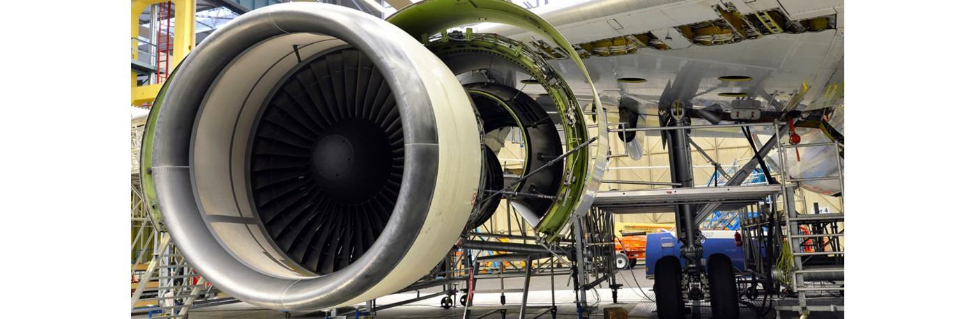 Jet engine in hanger undergoing maintenance, repair, cleaning and degreasing gettyimages ID 578190127