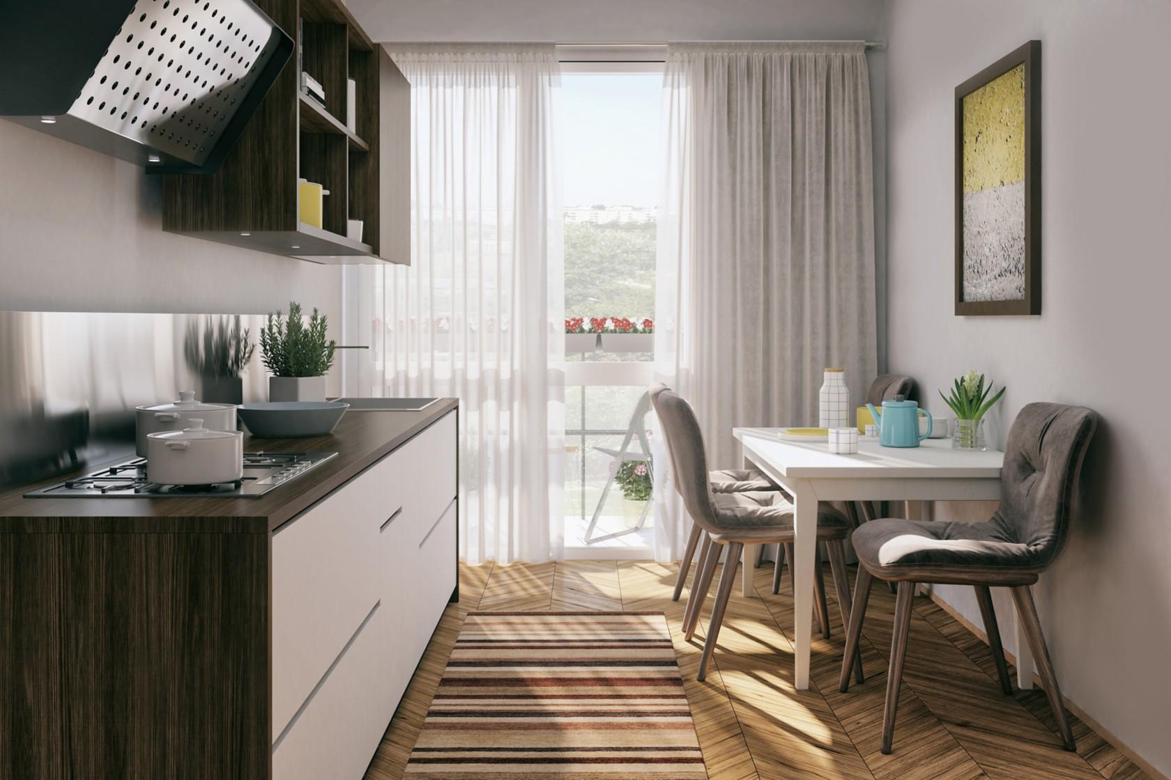 Leben auf kleinem Raum, enge Küche mit offenen Hochschränken