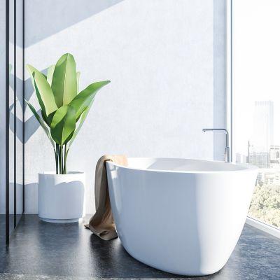 Bad reinigen, Badezimmer mit großem Fenster