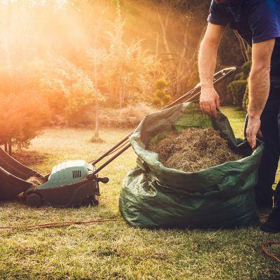 Rasen vertikutieren, grüner Sack gefüllt mit Gras