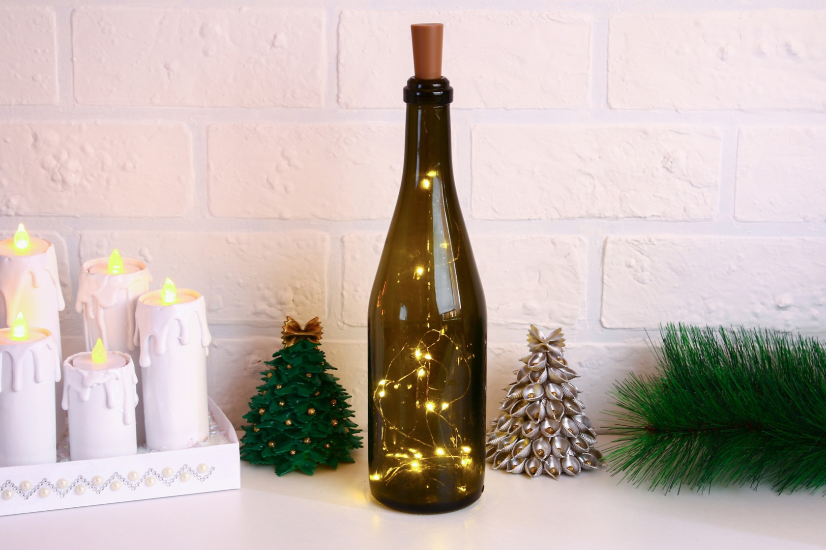 Re-using glass bottles wine bottle with lights