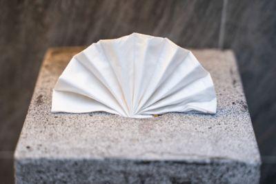 Serviette als Fächer gefaltet auf Steinpodest arrangiert