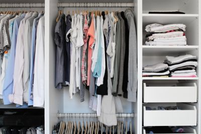 Wardrobe organization with clothes