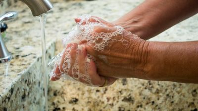 Close-up of washing hands