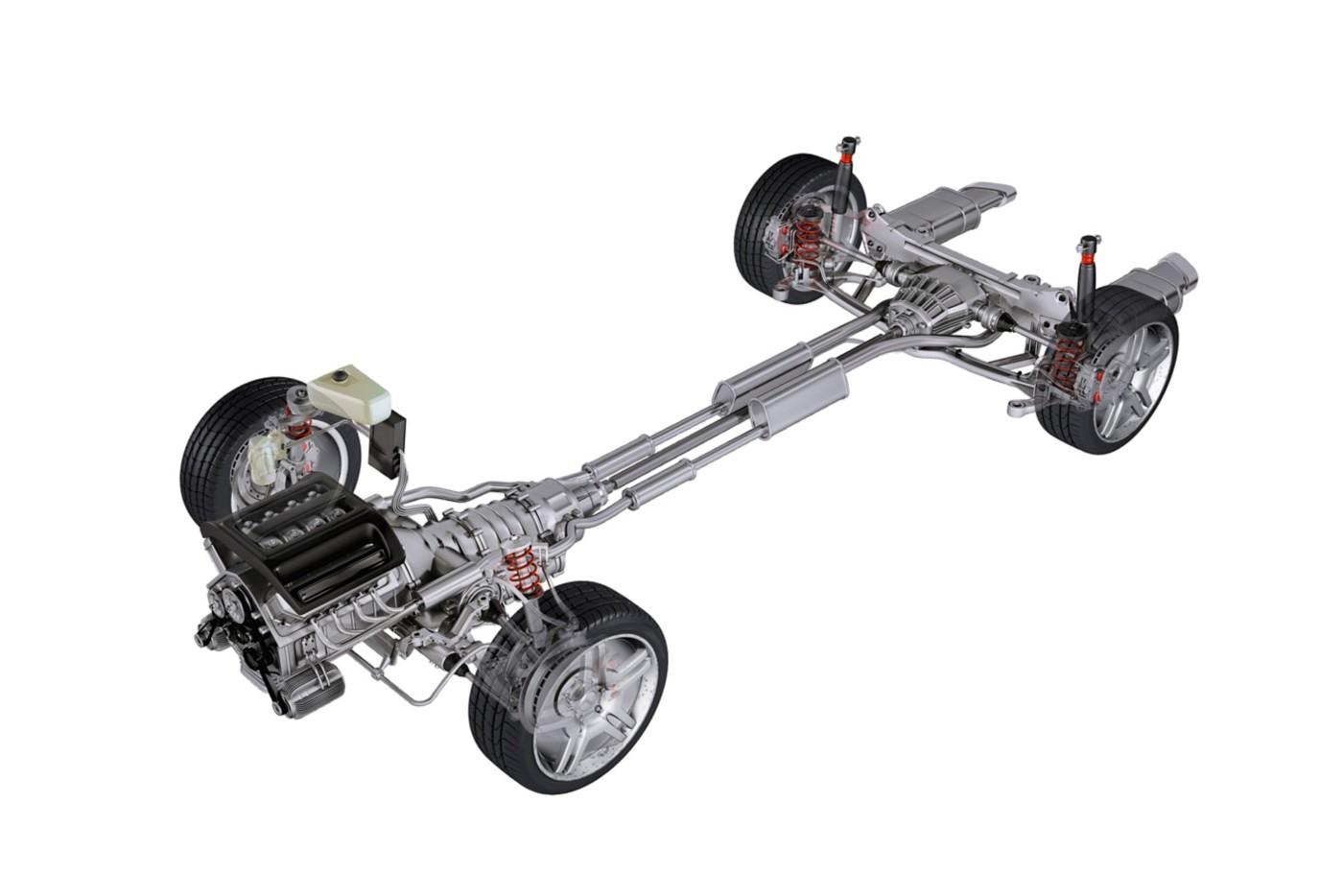 3D illustration of an automotive chassis frame including tires and steering modules
