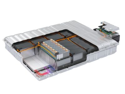 Illustrated rendering of an automotive battery pack