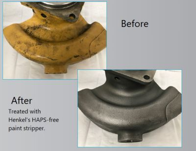 Part before and after remanufacturing processing with haps-free paint stripper.