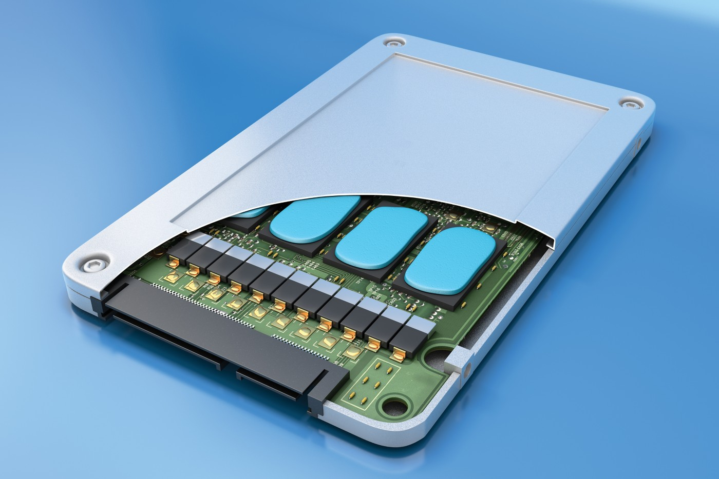 3d illustration of an electronic assembly utilizing bergquist thermally conductive liquid gap filler TGF 4000 a cut-away section of outer casing shows cured blue elastomer on top of components and just under the outer casing