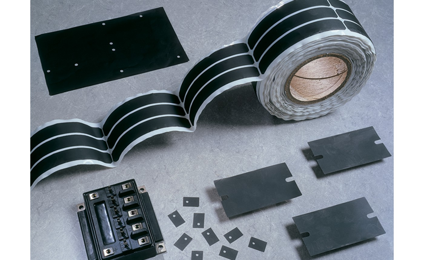 Photo of black bergquist q-pad 3 fiberglass-reinforced thermal interface products including die-cut parts, roll and sheet this product line is used as a replacement for thermal grease and eliminates problems associated with thermal grease such as contamination of electronic assemblies and reflow solder baths