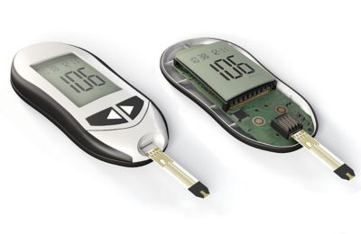 3d illustration of digital blood glucose monitor inlcudes teardown view of internal electronic assembly