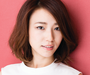 Woman with an angled bob hairstyle