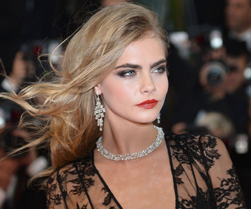 Cara Delavigne with side swept hairstyle