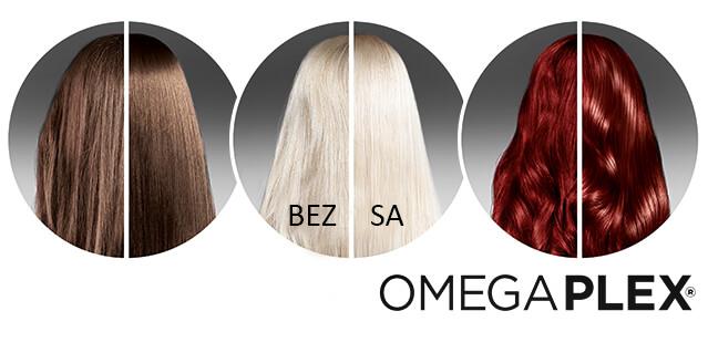 Prikaz izgleda kose bez korištenja omegaplexa i s njegovim korištenjem. Prikaz je za brinete, plavuše i crnke.