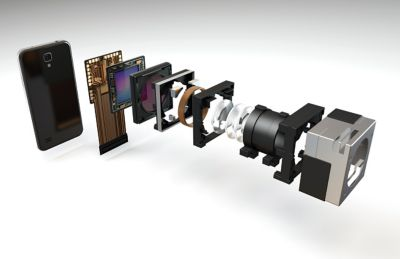 3d illustration of compact camera module accordion view of components in the assembly