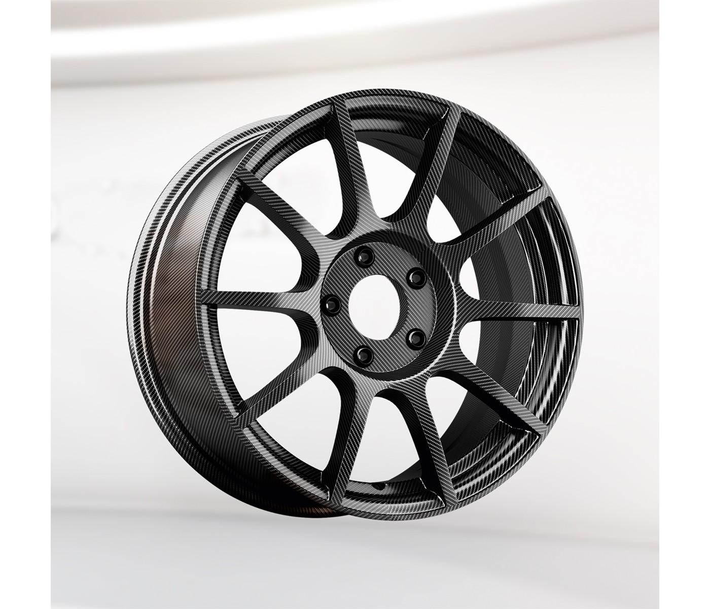 Dark grey, lightweight composite vehicle wheel
