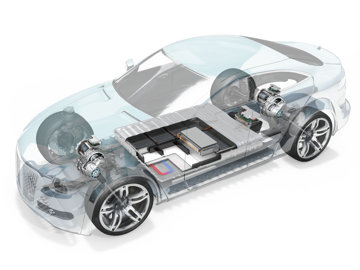 Electric vehicle interior with powertrain components exposed
