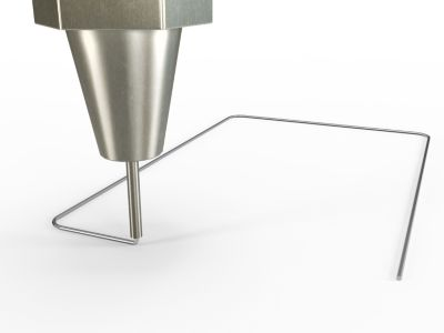 3d illustration of industrial automation equipment dispensing a silver bead of adhesive like  hotmelt and mma (methyl methacrylate adhesives) for enclosure bonding