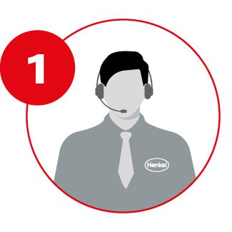 Icon of Henkel employee talking on a headset