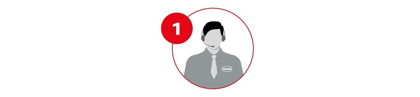 Icon of Henkel employee talking on a headset
