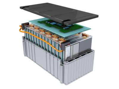 Illustrated electric vehicle battery module with Henkel technologies
