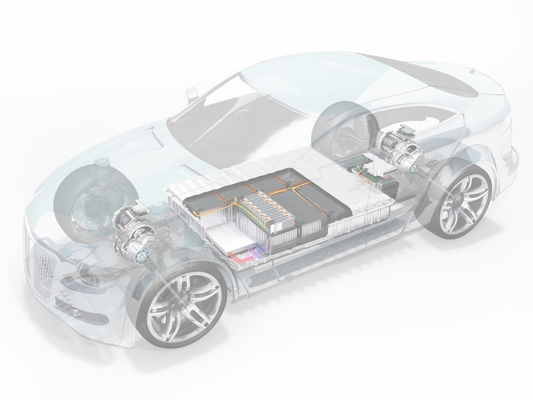 Close up of transparent electric vehicle revealing chassis and battery packs