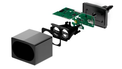 Exploded black ADAS LiDAR camera showing the different layers and components