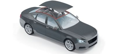Exploded view of grey car roof bonding assembly