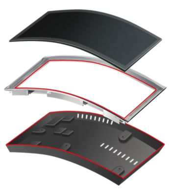 Exploded view of components with red structural bonding line from an automotive curved information display