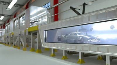 exterior vehicle body in bath going through the BONDERITE Thin Film process