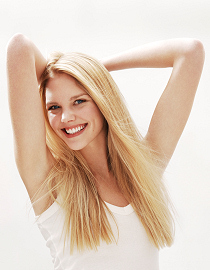 blonde stretching arms