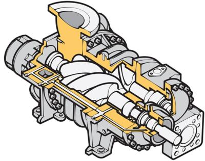 Cutaway illustration of a fluid processing compressor