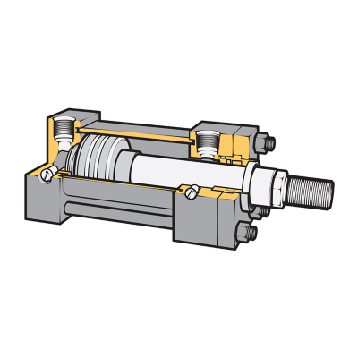 Cutaway of  a valve, actuator, fitting