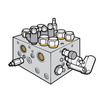 Cutaway of  a valve, actuator, fitting