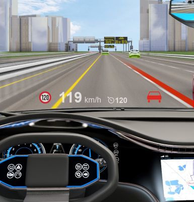 Head up display (HUD) supporting driver's safety keeping the eyes on the road.