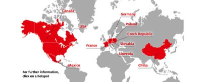 World map indicating Henkel's global impregnation centers